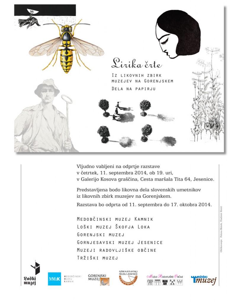 Lirika črte Galerija Kosova graščina Jesenice