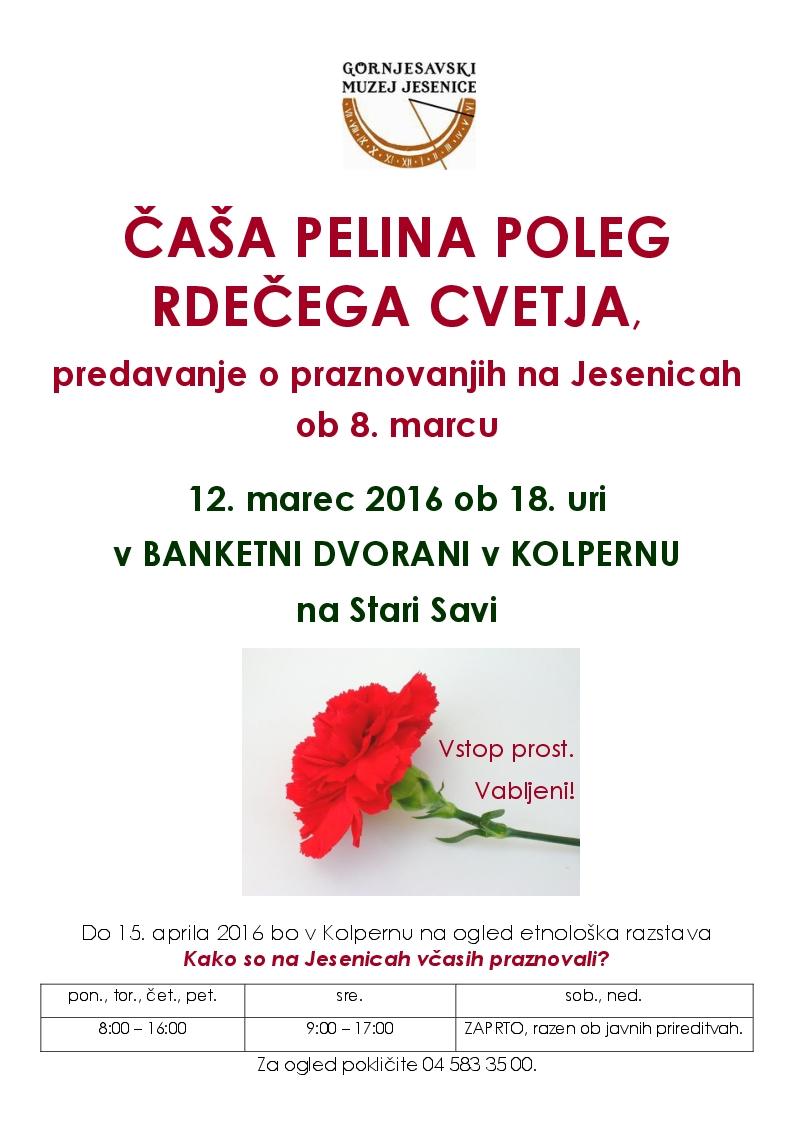 Vabilo-predavanje o praznovanjih na Jesenicah ob 8. marcu