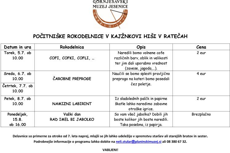 Pocitniske rokodelnice KH, 2016-1