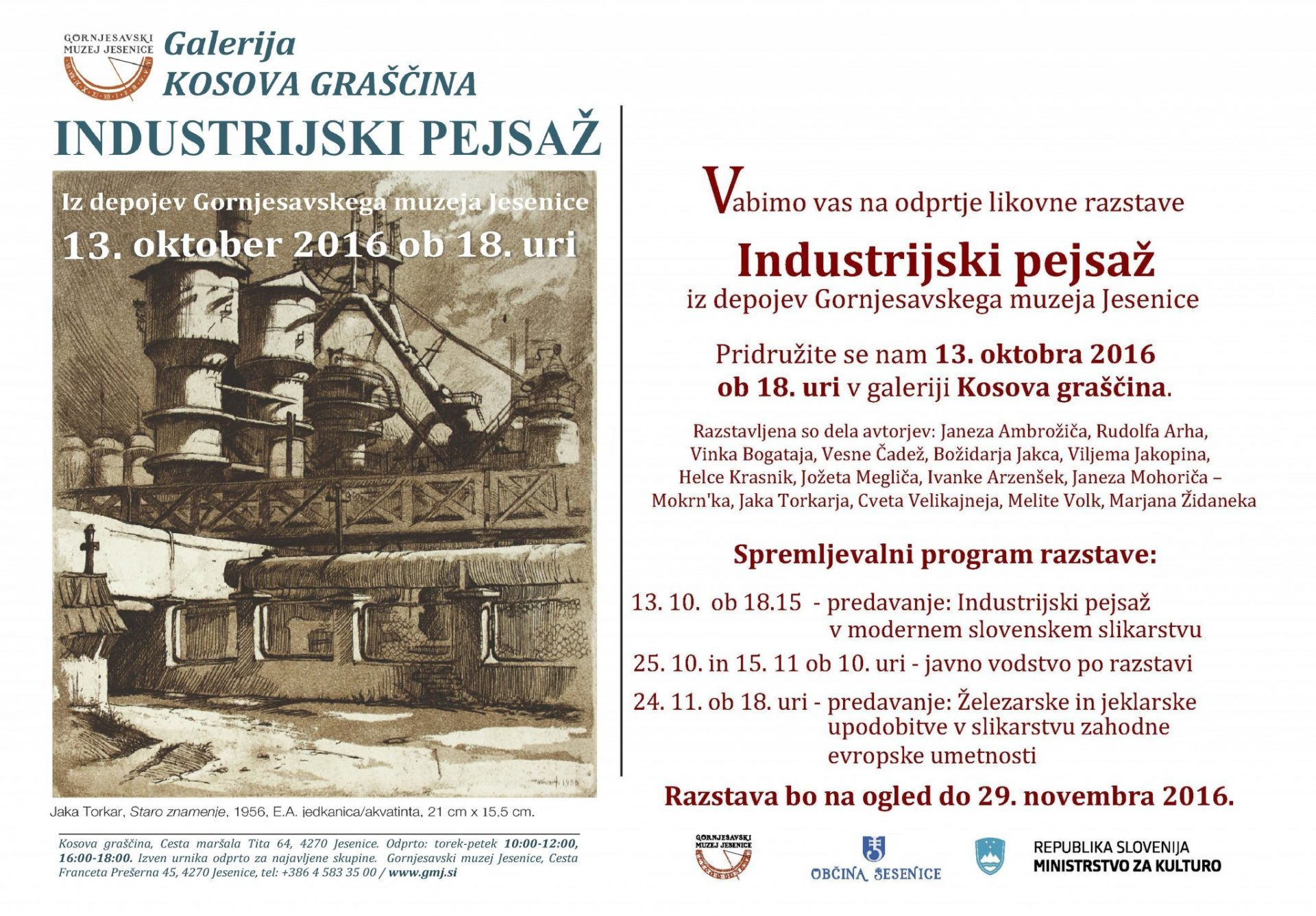 Aljaž Pogačnik, Kosova graščina, Jesenice, Gornjesavski muzej,