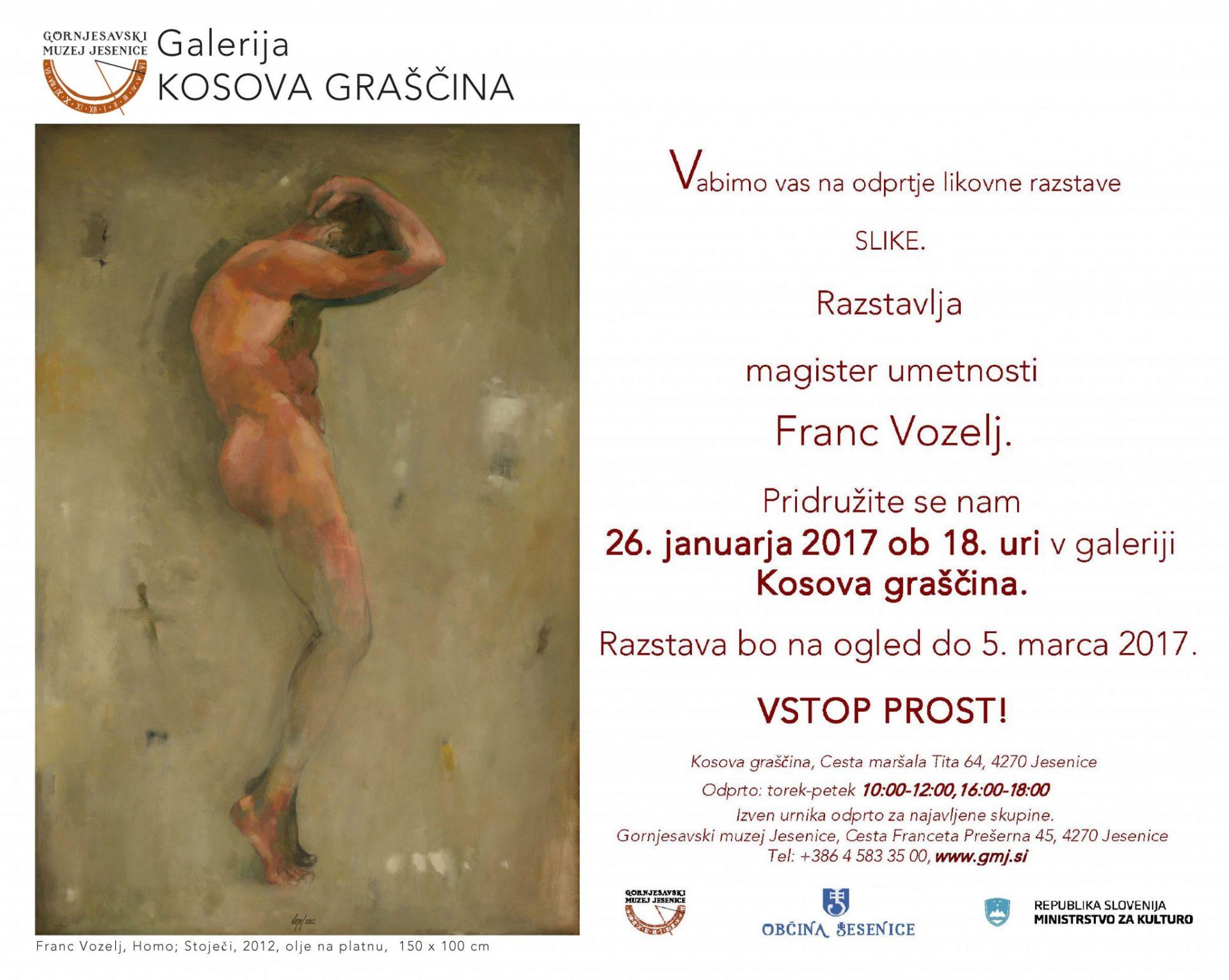 fRANC vOZELJ, Aljaž Pogačnik, Gornjesavski muzej, Jesenice, Galerija Kosova graščina, figura, tihožitje, oljno slikarstvo